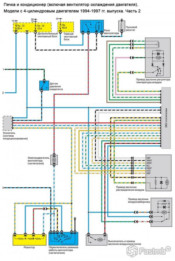 Схема кондиционера и печки Мазда 626 GE