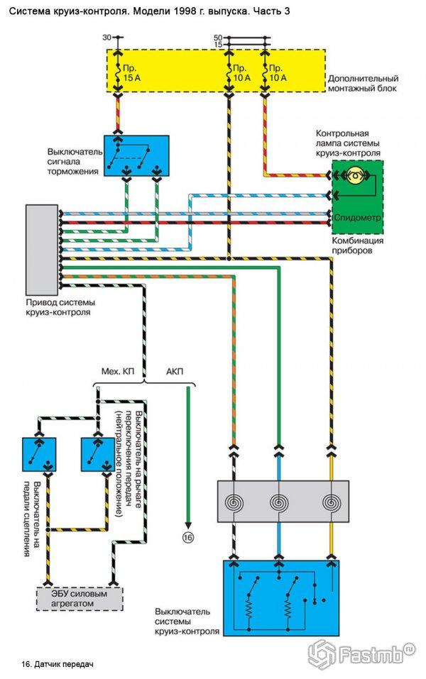 Электрическая схема системы круиз-контроля Mazda 626 GE