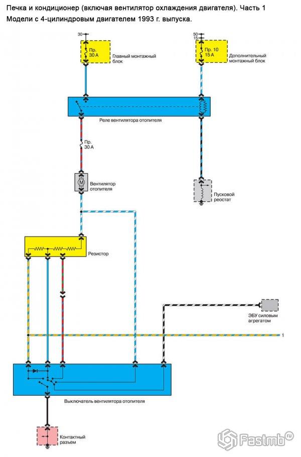 Схема кондиционера и печки Mazda 626 GE