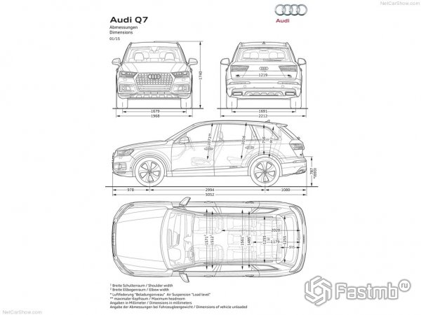 Размеры Audi Q7 2015