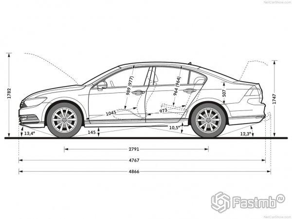 Размеры Volkswagen Passat 2015