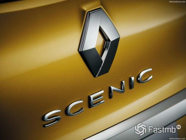 Эмблема бренда Renault на новом Рено Сценик