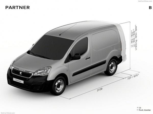 Peugeot Partner нового поколения, вид спереди и сбоку слева