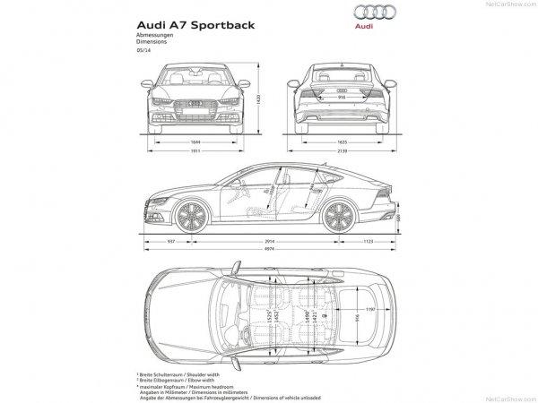 Размеры Audi A7 2016 Sportback