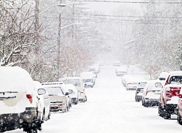 Сильный снегопад в Украине