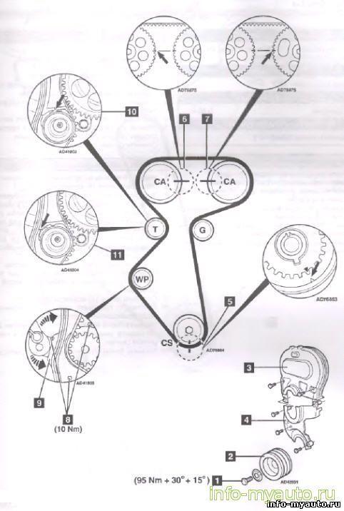 Схема ремня ГРМ на Шевроле Ланос 16 клапанов