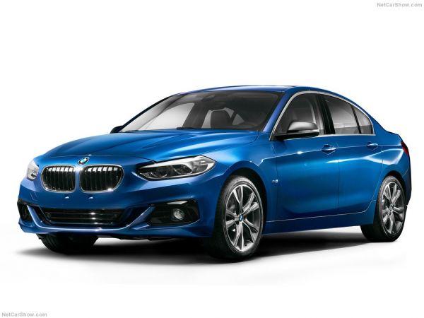 BMW 1-Series Sedan 2017, вид спереди и сбоку слева