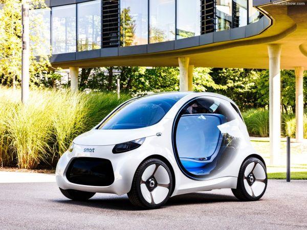 Smart Vision EQ ForTwo Concept 2017, вид спереди и сбоку слева