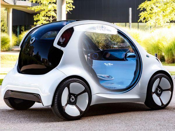 Smart Vision EQ ForTwo Concept 2017, вид сзади и сбоку справа