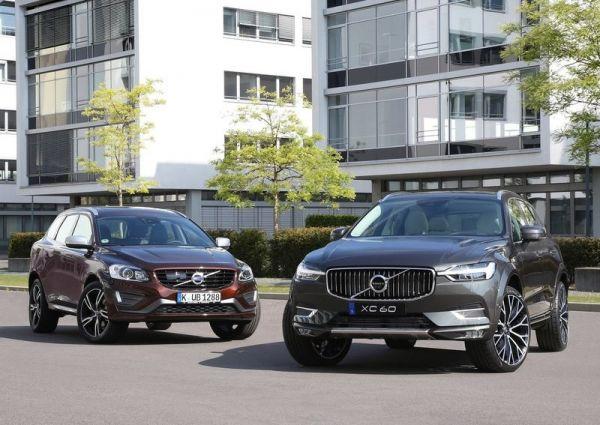 Первая и вторая генерации Volvo XC60, вид спереди