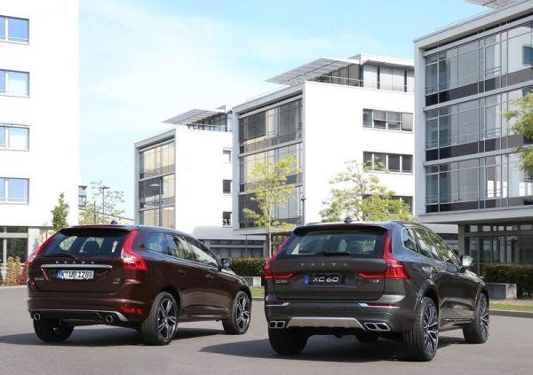 Первая и вторая генерации Volvo XC60, вид сзади