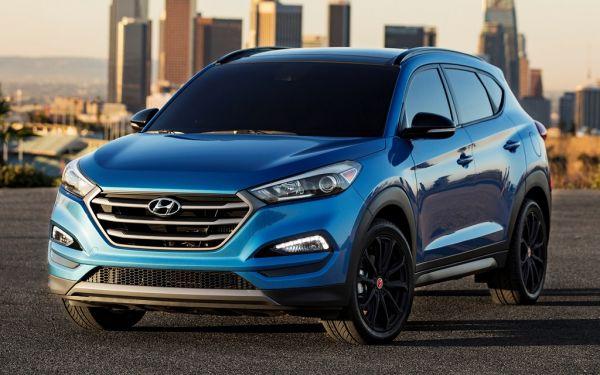Hyundai Tucson 2017-2018, вид спереди и сбоку слева