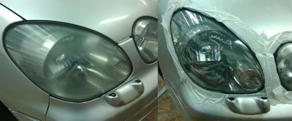 До и после полировки фар автомобиля