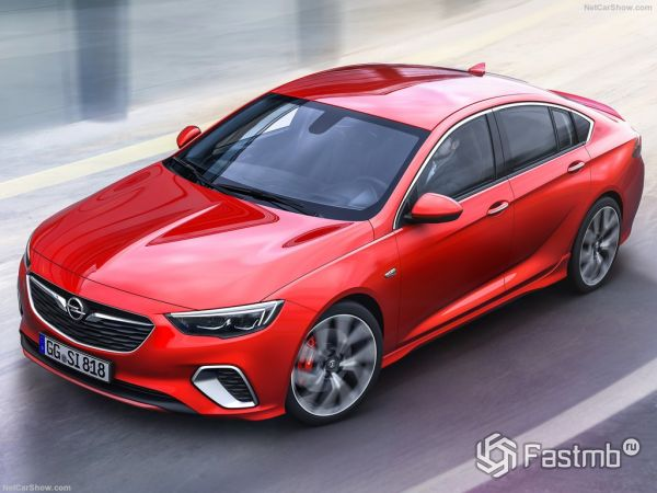 Opel Insignia GSi 2018, вид сверху, спереди и сбоку слева
