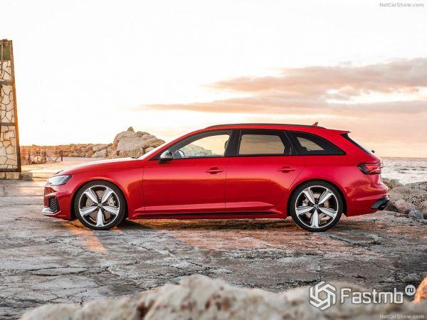 Audi RS4 Avant 2018, вид сбоку слева