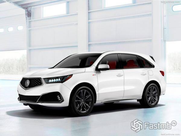 Acura MDX A-Spec 2019, вид спереди и сбоку слева
