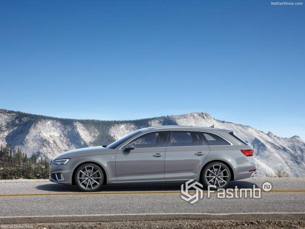 Audi A4 Avant 2019, вид сбоку слева