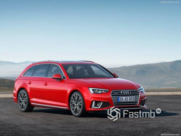 Audi A4 Avant 2019, вид спереди и сбоку справа