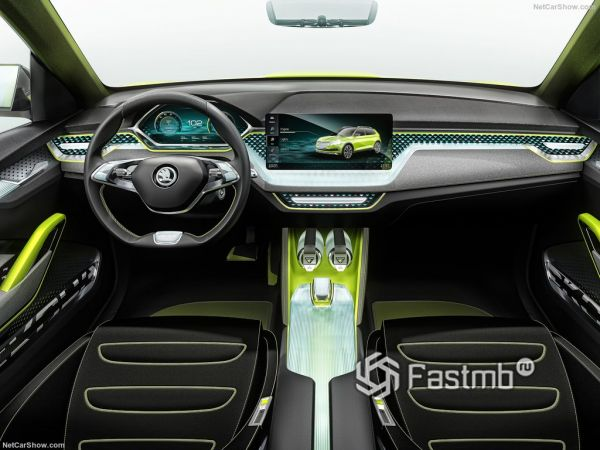 Шкода Вижн X Concept 2019 года, руль и панель управления
