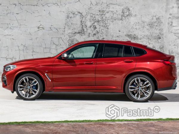 BMW X4 M40d 2019, вид сбоку слева