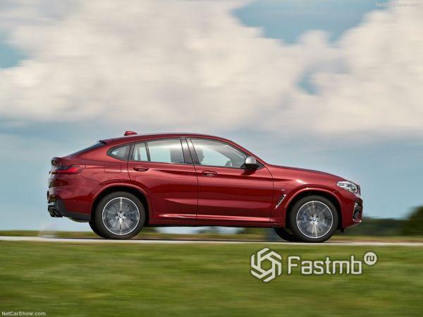 BMW X4 M40d 2019, вид сбоку справа