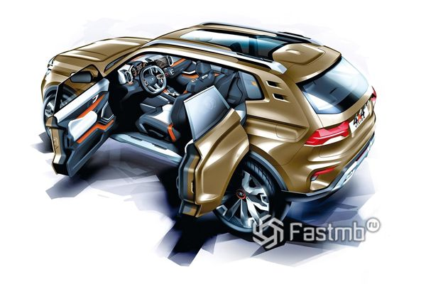 Эскиз открытия дверей Lada Vision
