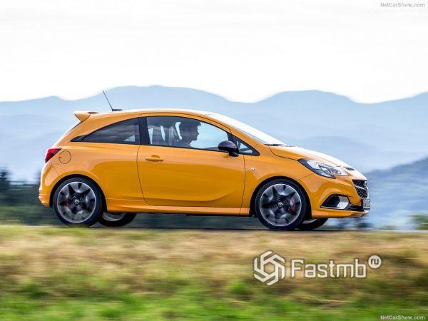 Opel Corsa GSi 2019, вид сбоку справа