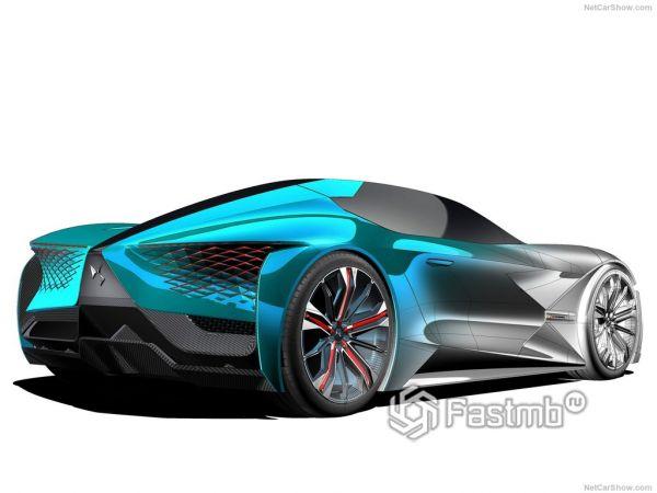Экстерьер и интерьер DS X E-Tense Concept, вид сзади и сбоку справа
