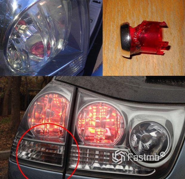 Оплавленные задние габариты Lexus RX
