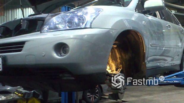 Процесс замены сайлентблока на Lexus RX со снятием рычага