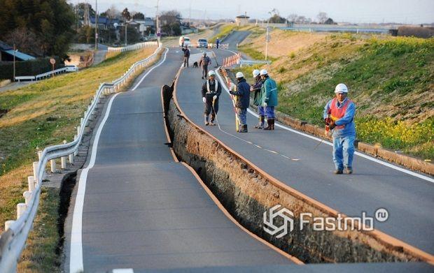 бетонное покрытие дороги в Японии