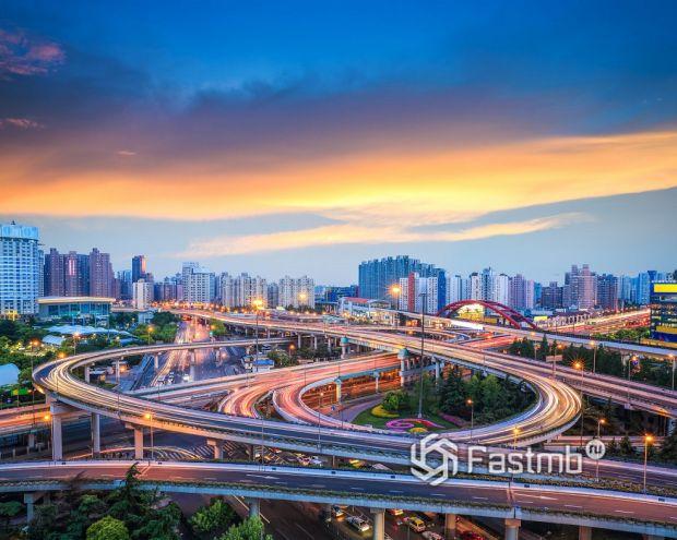 многоуровневая развязка в Шанхае