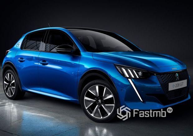 Peugeot e-208 2020, вид спереди