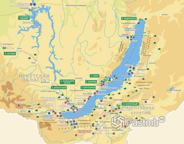 Карта Байкала с населёнными пунктами и прилегающими базами отдыха