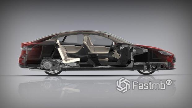 автомобиль Tesla в разрезе
