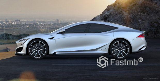 Боковая часть новой Тесла Model S