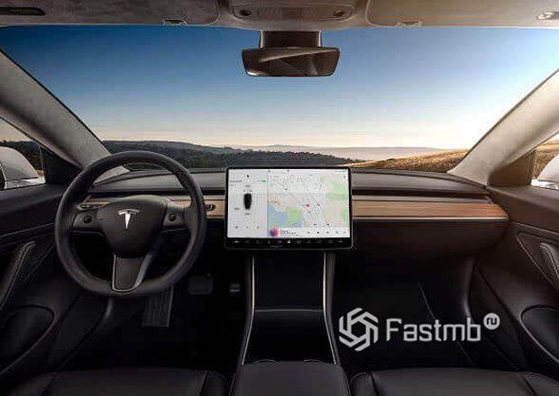 Салон электрокара Tesla Model 3