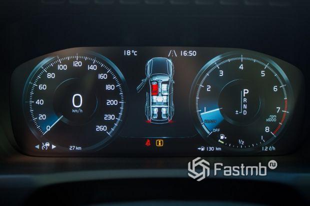 Volvo XC90, элементы панели управления