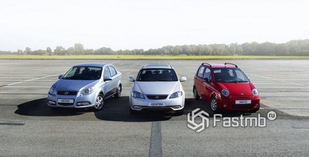 модельный ряд Kia и Daewoo
