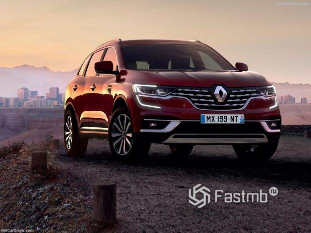Renault Koleos 2020, вид спереди и сбоку справа