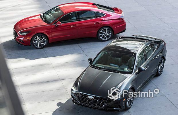 Светодиодные линии на капоте Hyundai Sonata 2020