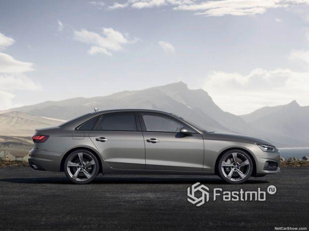 Audi A4 2020, вид сбоку справа