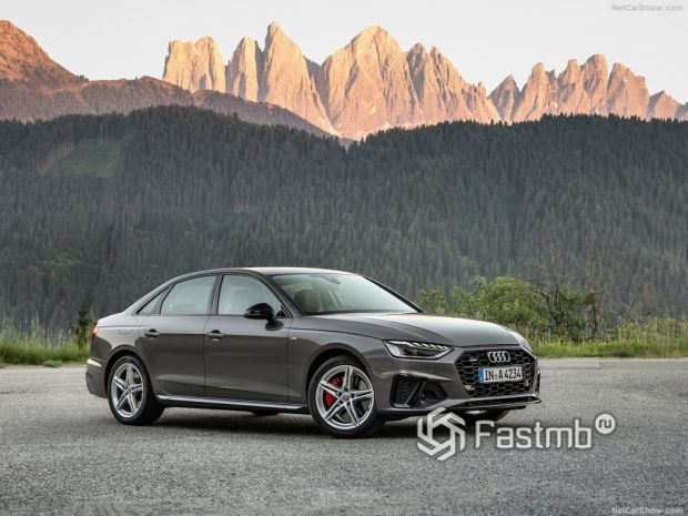 Audi A4 2020, вид спереди и сбоку справа