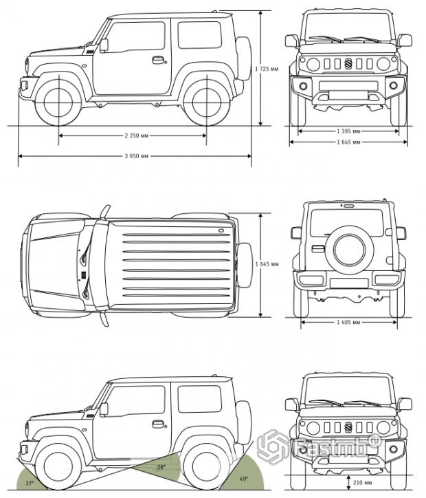 Размеры Suzuki Jimny 2019