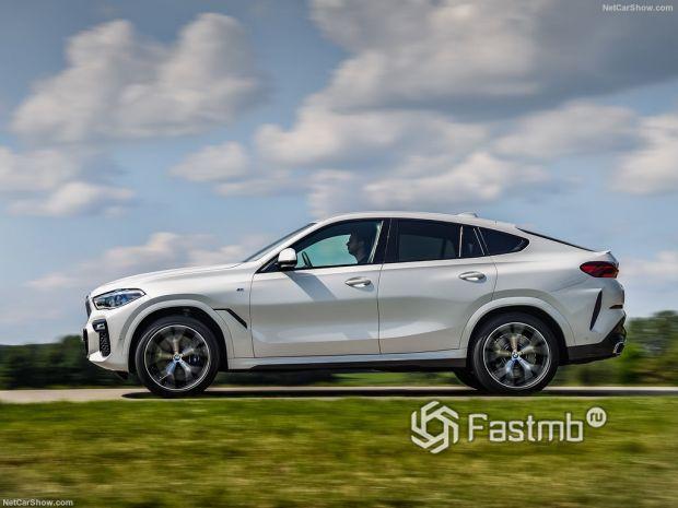 BMW X6 2020, вид сбоку слева