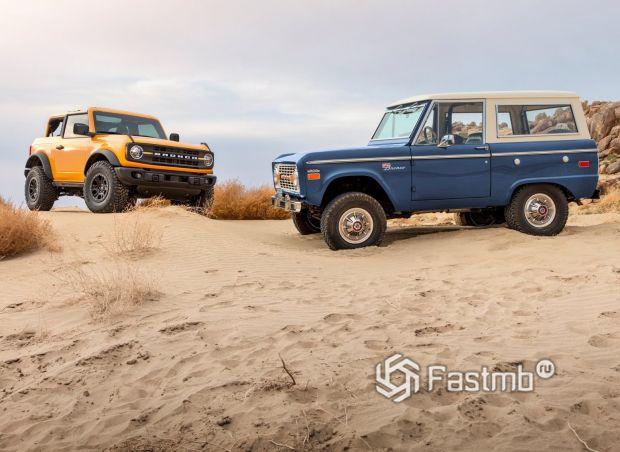 Два поколения Ford Bronco, вид сбоку