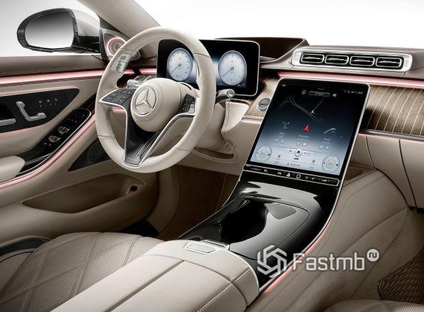 Mercedes-Maybach S-Class 2021, центральный дисплей