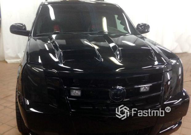 Cadillac Escalade, черная глянцевая пленка и тонировка оптики