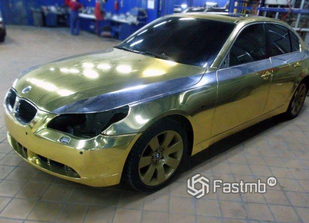 BMW, оклейка пленкой золотистый хром