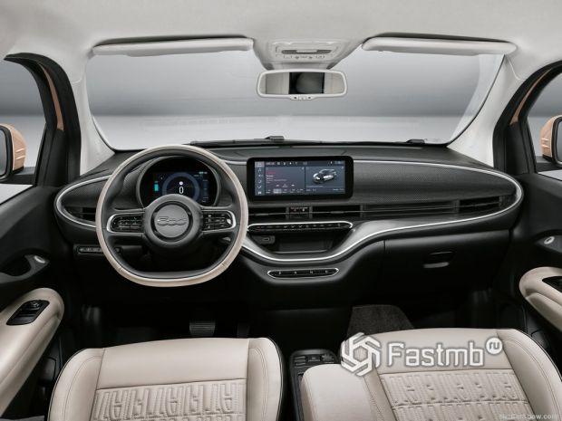 Салон Fiat 500 3+1 2021, руль и панель управления
